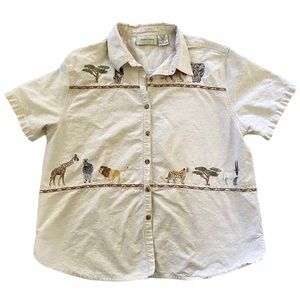 Safari embroidered animal button down top